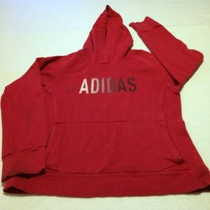 RED ADDIDAS SWEATSHIRT HOODIE BOYS M EUC